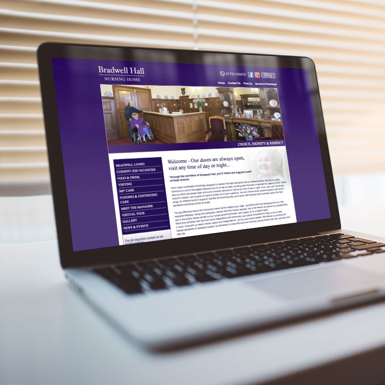 Bradwell Hall Nursing Home website design