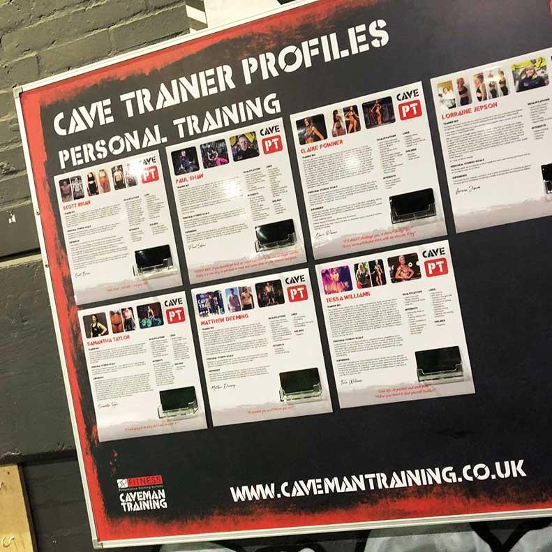Caveman Training magnetic board graphics