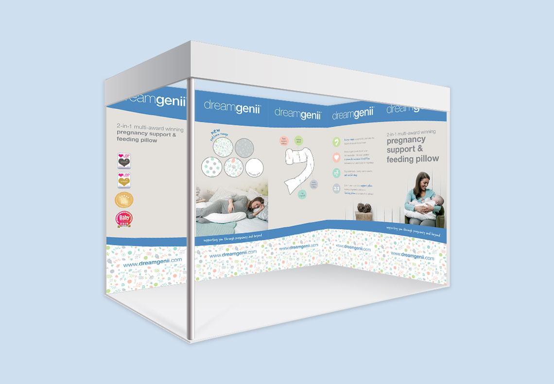 Dreamgenii pregnancy pillow exhibition stand graphics
