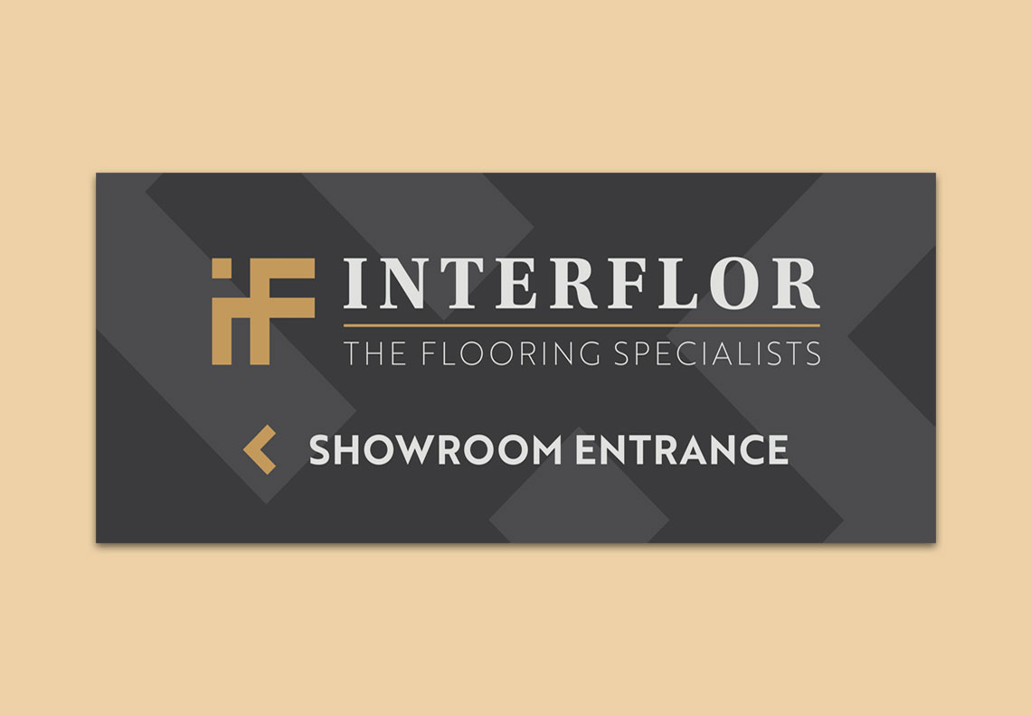 Interflor Interiors showroom entrance signage